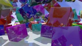 Blocs colorés en baisse de cube rendu 3d Images libres de droits