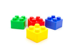 Blocs constitutifs de Lego Plastic sur le blanc Photos stock