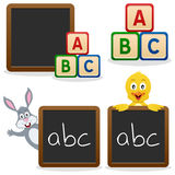 Blocs d'ABC de tableau noir d'école Photographie stock