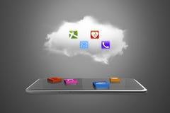 Blocs d'APP sur le comprimé intelligent avec le nuage Photographie stock libre de droits