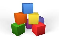 Blocs 3d constitutifs colorés illustration de vecteur