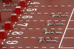 blocs d'obstacles de 110 mètres Images libres de droits