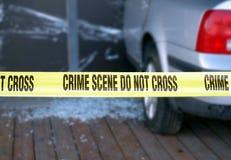 Blocs de bande jaunes une scène du crime Images stock