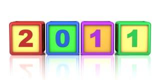 Blocs de couleur avec la datte de l'an 2011 neuf d'isolement Images libres de droits