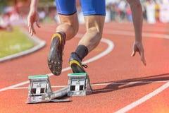 Blocs de début de stade de sprinter photographie stock