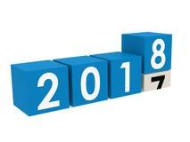Blocs de la nouvelle année 2018 dans le bleu Image libre de droits