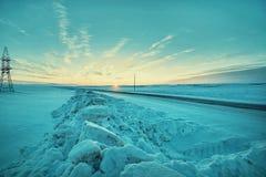 Blocs de neige et de la route Photo libre de droits