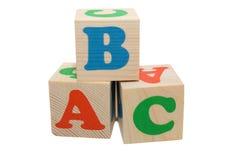 Blocs en bois avec des lettres Photo stock