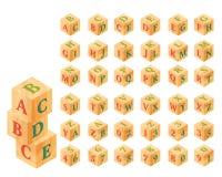 Blocs en bois avec des lettres et des nombres, alphabet Photographie stock
