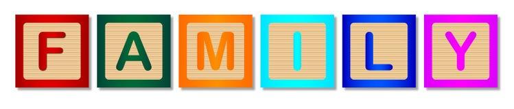 Blocs en bois avec la FAMILLE de Word sur le blanc Images stock