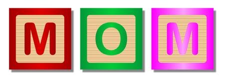 Blocs en bois avec la maman de Word sur le blanc Image stock