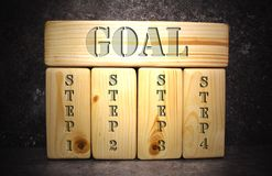 Blocs en bois sur le fond gris-foncé avec la description de processus Photographie stock libre de droits