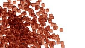 Blocs en verre rouges aléatoirement placés dans l'espace avec le fond blanc Photos libres de droits