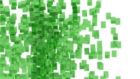 Blocs en verre verts aléatoirement placés dans l'espace avec le fond blanc Photographie stock