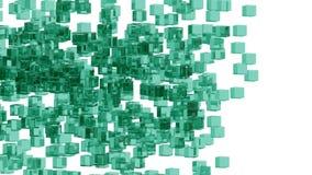 Blocs en verre verts aléatoirement placés dans l'espace avec le fond blanc Images libres de droits