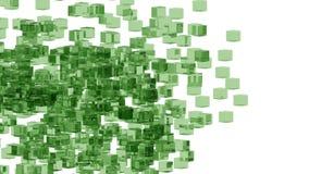 Blocs en verre verts aléatoirement placés dans l'espace avec le fond blanc Photo libre de droits