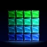 Blocs en verre verts et bleus Photographie stock libre de droits