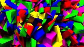 Blocs et fond colorés de morceaux, illustration 3d Images stock
