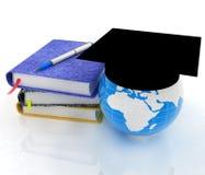 Blocs-notes, stylo et terre dans le chapeau d'obtention du diplôme illustration stock