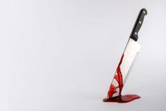 Blod befläckt kökkniv med kopieringsutrymme Royaltyfri Fotografi