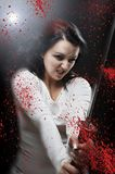 Blod katana Killer girl Stock Photo