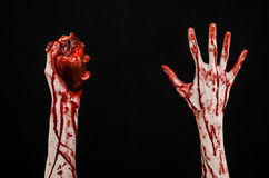 Blod- och allhelgonaaftontema: sönderriven blödande mänsklig hjärta för ruskig blodig handhåll som isoleras på svart bakgrund i s Fotografering för Bildbyråer