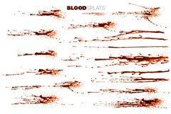 Blod plaskar, droppar och droppander Arkivfoto