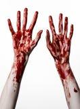Bloda ner händer på en vit bakgrund, levande döden, demonen, galningen som isoleras Royaltyfri Fotografi