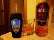 Blodalkoholhalt Arbeten, genom att identifiera alkoholdunster i luften detaljer royaltyfri bild