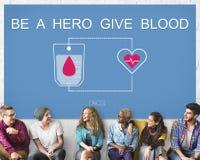 Bloddonation ger det livtransfusionSangre begreppet Arkivbilder