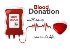 Bloddonation, vektorillustration, begrepp med dripperen, hjärta vektor illustrationer