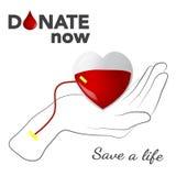 Bloddonation, vektorillustration, begrepp med hjärta och hand Arkivfoton