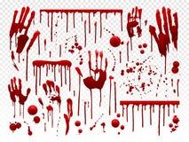Bloddroppande Röd målarfärgfärgstänk, blodiga halloween plaskar fläckar och blödninghandspår Att drypa ger första erfarenhet fasa royaltyfri illustrationer
