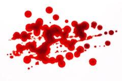 Bloddroppar som isoleras på vit Fotografering för Bildbyråer