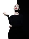 Blode elegante nel fondo in bianco e nero geometrico Fotografie Stock
