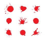 Blodfläckar Rött bloda ner fläckar också vektor för coreldrawillustration Arkivbild