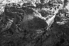 Blodgett Canyon Cliffs Wintertime in Black and White Royalty Free Stock Photography