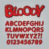 Blodig komisk pop Art Alphabet och nummer stock illustrationer