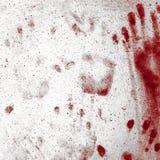 Blodiga handprints på väggen Royaltyfri Foto