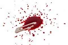 Blodigt blad med blodsplatteren Royaltyfri Fotografi