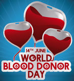 Blodpåsar som en hjärta formad ballong för givar-dagen, vektorillustration Royaltyfri Foto