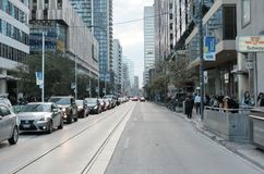 Blodstockning och trafik james i Toronto, Kanada royaltyfri fotografi