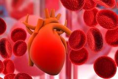 Blodsystem med en mänsklig hjärta vektor illustrationer