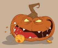 blodtörstig orangepumpa för äta halloween Fotografering för Bildbyråer