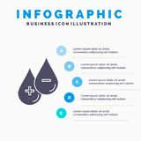 bloed, daling, vloeistof, plus, Minus Infographics-Malplaatje voor Website en Presentatie GLyph Grijs pictogram met Blauwe infogr royalty-vrije illustratie