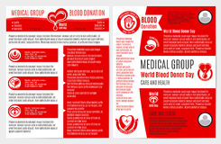 Bloeddonatie medische brochure, affichemalplaatje Royalty-vrije Stock Afbeelding