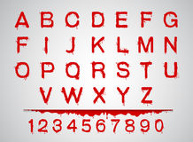 Bloeddoopvonten geplaatst de reeks van het alfabetbloed Stock Afbeeldingen