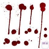 Bloeddruppel Vector rode Inktvlek, vlekken en plonsen royalty-vrije stock afbeeldingen