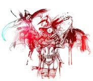Bloedheks met zeis royalty-vrije illustratie