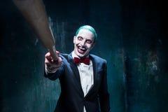 Bloedig Halloween-thema: gek jokergezicht stock fotografie